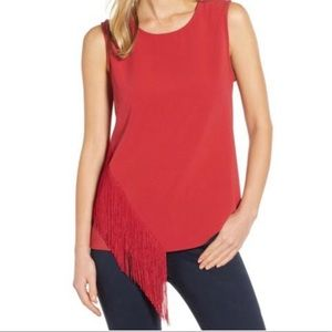 💄Red Vince Camuto Sleeveless Tank with Fringe💄